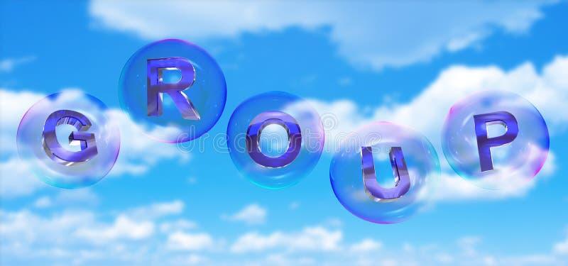 Gruppordet i bubbla royaltyfri illustrationer