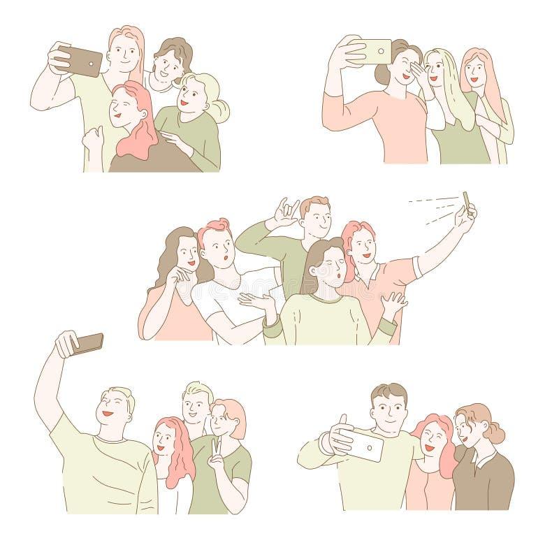 Gruppselfie isolerade symbolsmän och kvinnor som tar fotoet vektor illustrationer