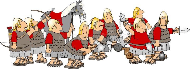 gruppsoldater stock illustrationer