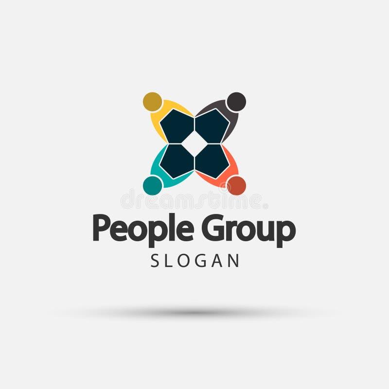 Grupuje cztery ludzie logo uścisku dłoni w okręgu, pracy zespołowej ikona, Wektorowa ilustracja ilustracji