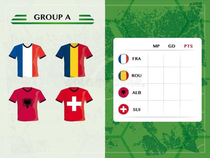 Grupuje a europejskie drużyny futbolowe dla mistrzostwa ilustracja wektor