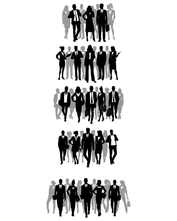 Grupy biznesmen sylwetki ilustracja wektor