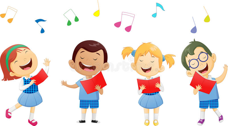 Grupy dziecko w wieku szkolnym śpiewa w chorze ilustracji