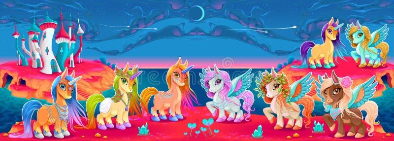 Grupy jednorożec i Pegasus w fantazja krajobrazie royalty ilustracja