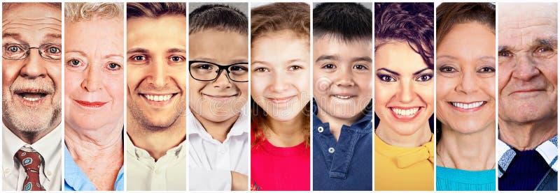 Grupy ludzi duża rodzina z dziadków dziećmi i rodzicami fotografia stock