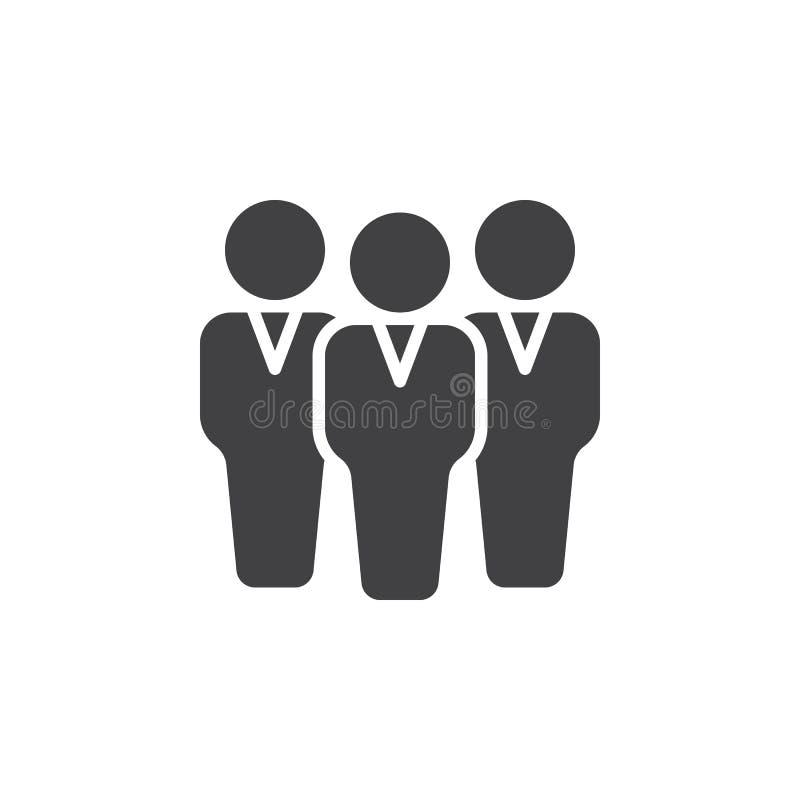 Grupy ludzi ikony wektor, wypełniający mieszkanie znak, stały piktogram odizolowywający na bielu ilustracji