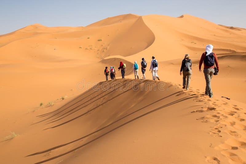 Grupy ludzi odprowadzenie na piasek diunach obrazy stock