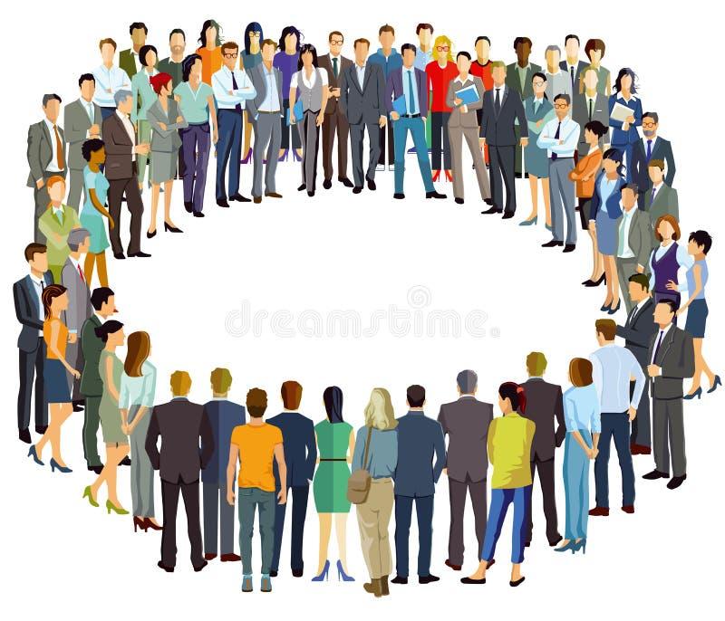 Grupy ludzi pozycja w okręgu ilustracja wektor