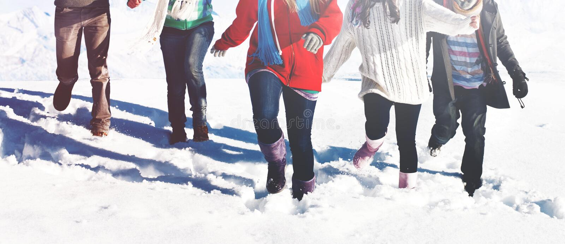 Grupy Ludzi przyjemności zimy śniegu pojęcie fotografia royalty free
