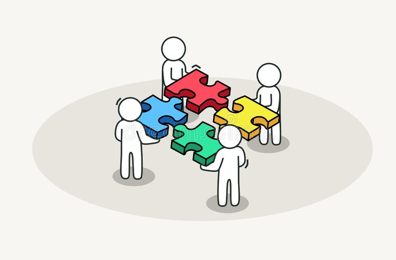 Grupy ludzi wyrzynarki gromadzić łamigłówka Partnerstwo i biznesu rozwiązania pojęcie ilustracji