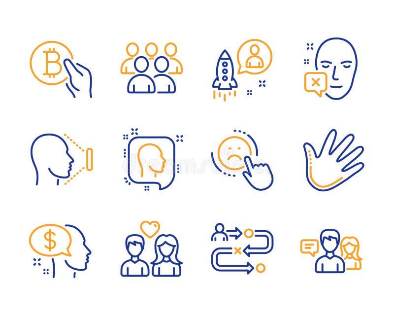 Grupy, wynagrodzenia i niechęci ikony ustawiać, Ręka, rozpoczęcie i twarz obniżający znaki, wektor ilustracja wektor