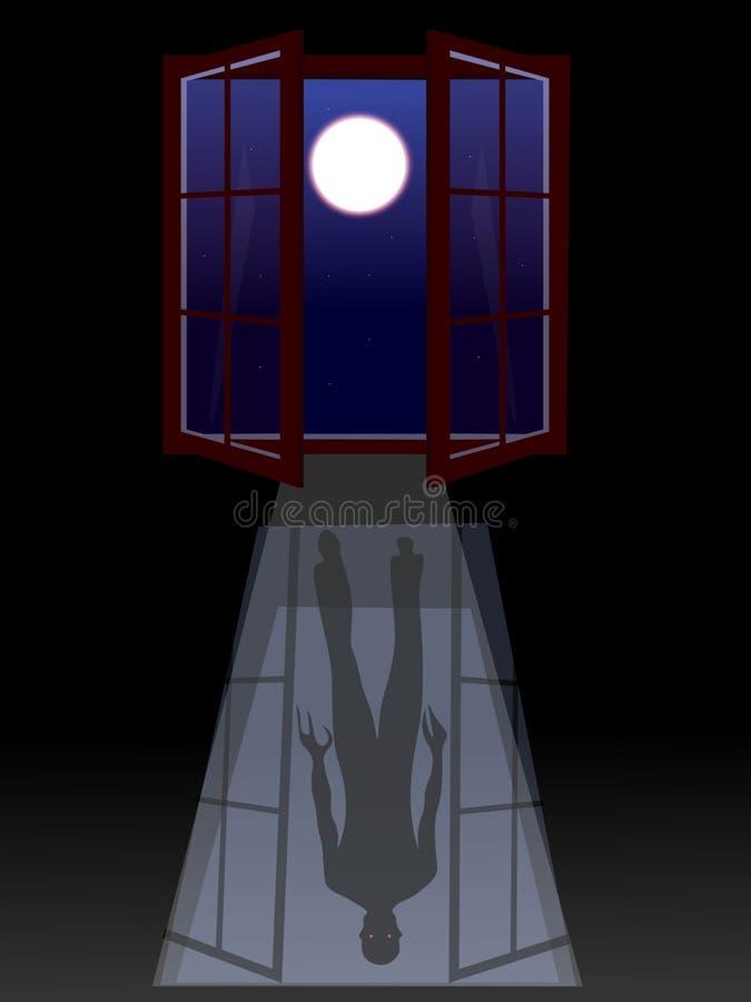 Gruselige furchtsame Szene, Furcht vor der Dunkelheit, umfassen Monster, Fenster, helle Strahlen, Vollmond stock abbildung