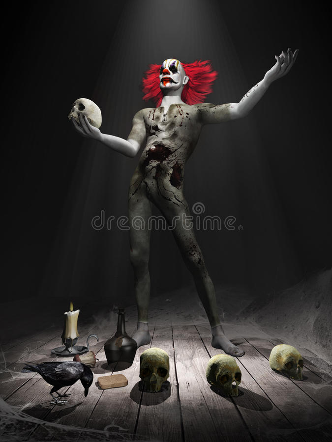 Gruseliger Clown mit dem roten Haar stock abbildung