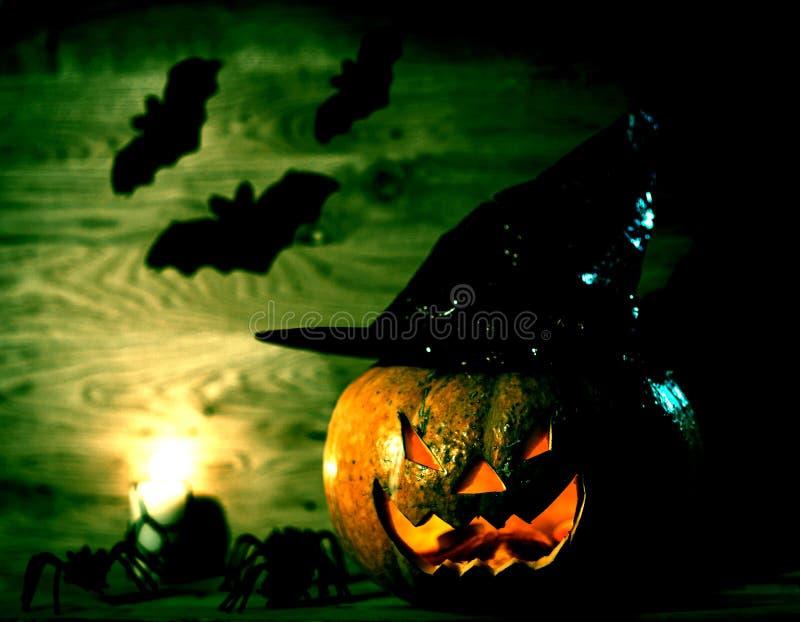 Gruseliger K?rbis f?r Halloween im Hexenhut auf h?lzernem Hintergrund stockfotos