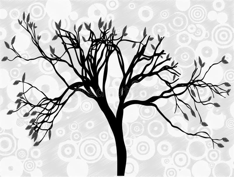 Gruseliger silhouettierter Kreis-Auszugshimmel des Baums grauer stock abbildung