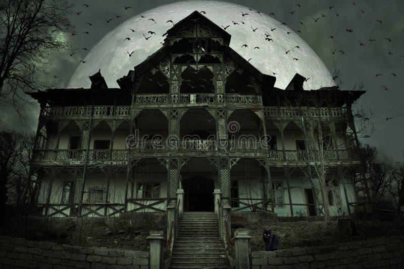 Gruseliges Geisterhaus mit dunkler Grausigkeitsatmosphäre Eine schwarze Katze, viele Schläger und großer Vollmond hinter der schr stockfotografie