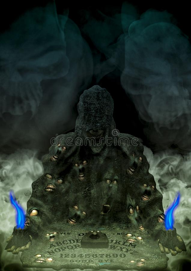 Gruseliges ouija Brett mit Kerzen und Horrorgesichtern lizenzfreie abbildung