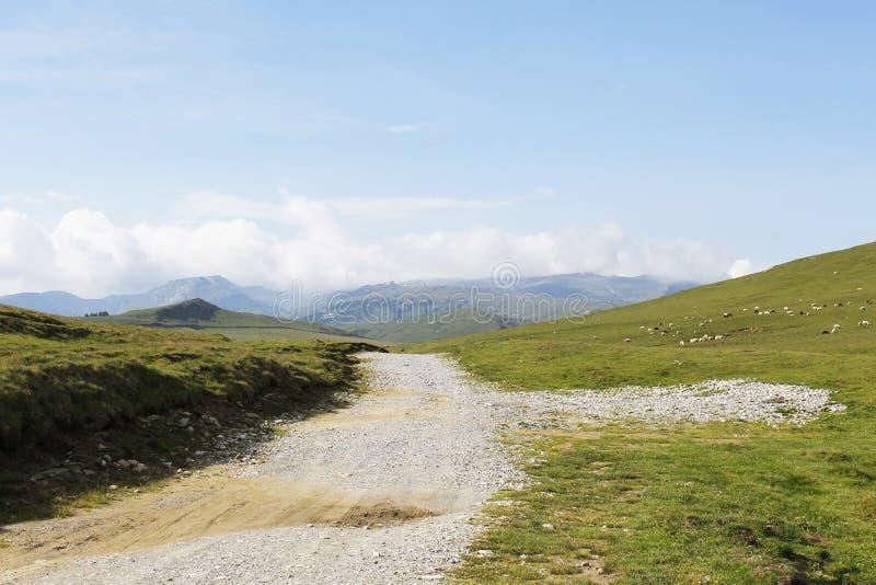 Grusväg överst av berget arkivbild