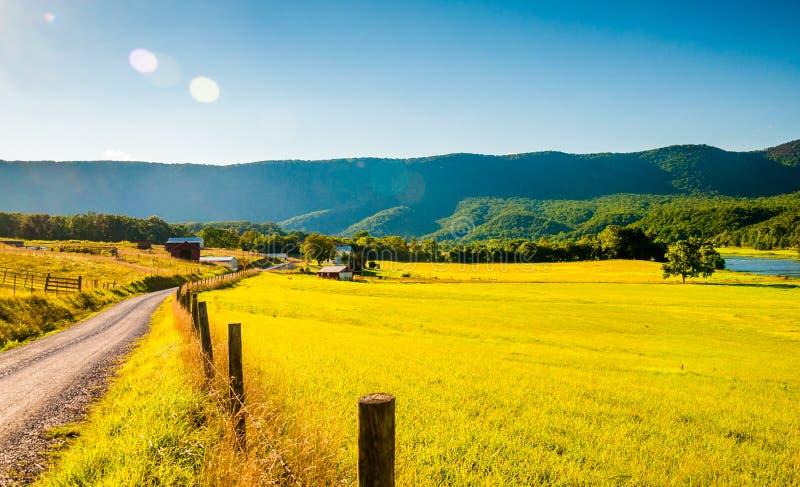 Grusväg och lantgård i Shenandoahet Valley, Virginia royaltyfri bild
