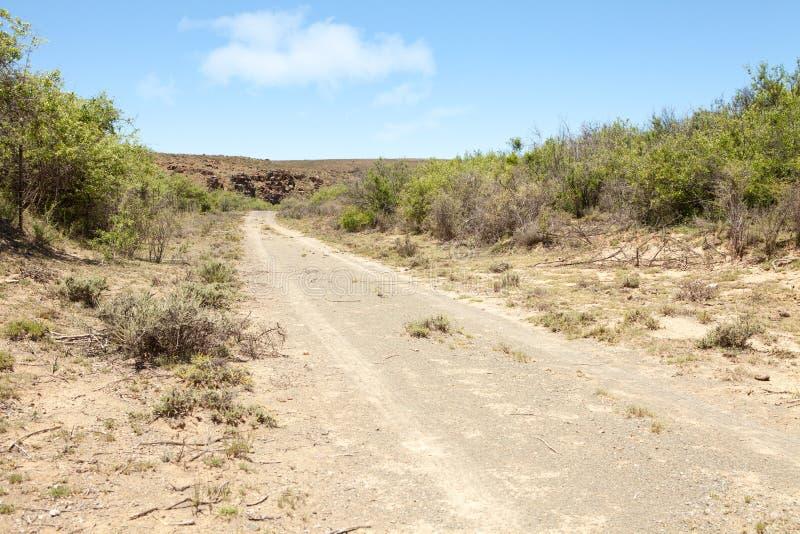 Grusväg som leder in mot den steniga kullen i ointressant region arkivfoton