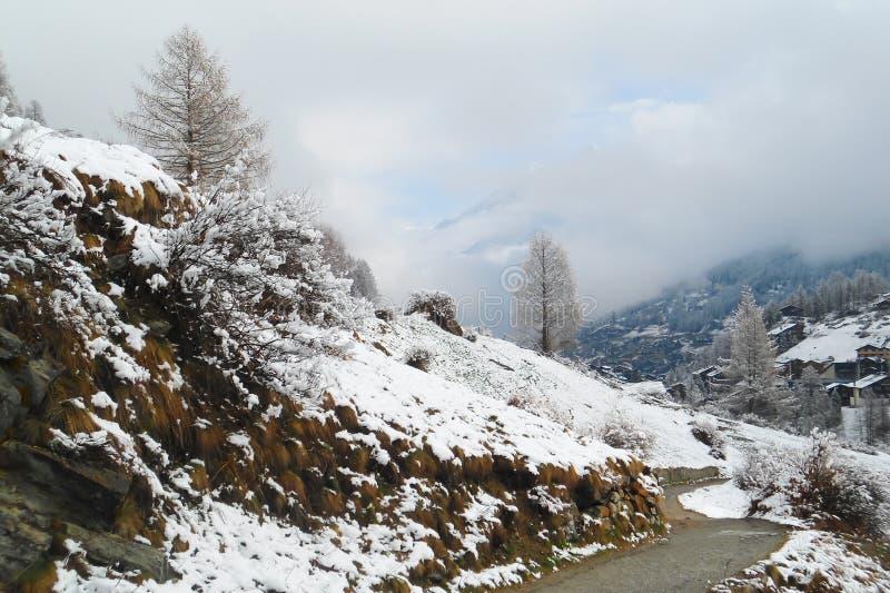 Grusväg till den traditionella Tyrol byn i schweiziska fjällängar royaltyfri foto