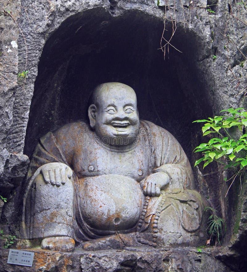Grutas de Feilai Feng con las tallas de piedra budistas finas fotografía de archivo libre de regalías