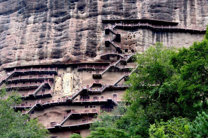 Grutas parque nacional de Maijishan, Tianshui, China fotografia de stock