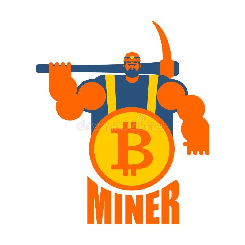 Gruvarbetarelogo Bryta Bitcoin Crypto valutor arbetare royaltyfri illustrationer