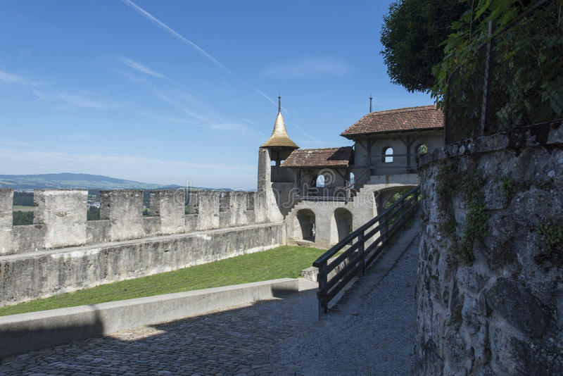 Gruyères village fortification walls stock images
