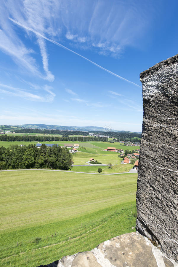 Gruyères village fortification walls stock image