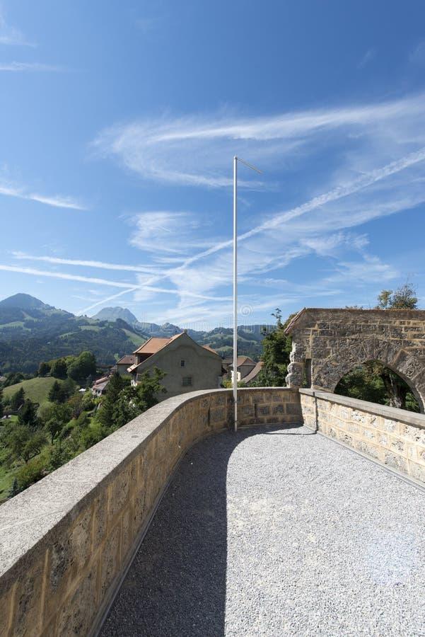 Gruyères village stock photo