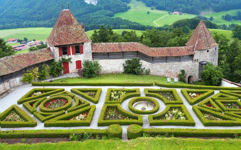Gruyere castle. Garden in the famous Gruyere castle, Switzerland stock image