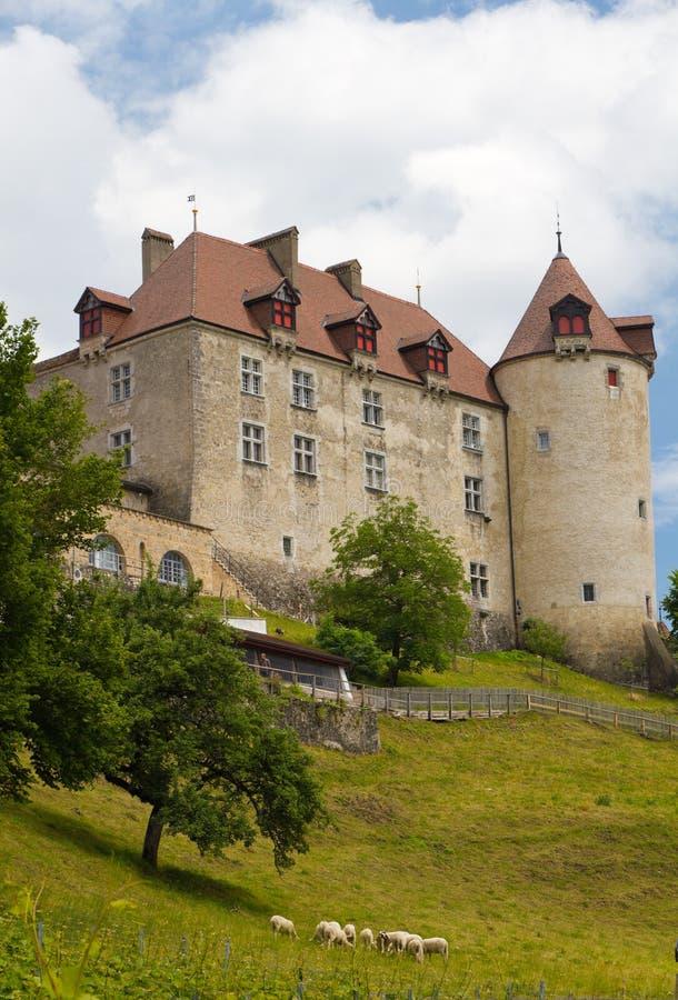 Gruyere castle Switzerland. Old gruyere castle on hill, Switzerland royalty free stock images