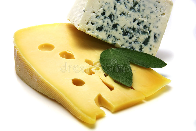 Gruyere cheese and roquefort isolated. Over white royalty free stock photography