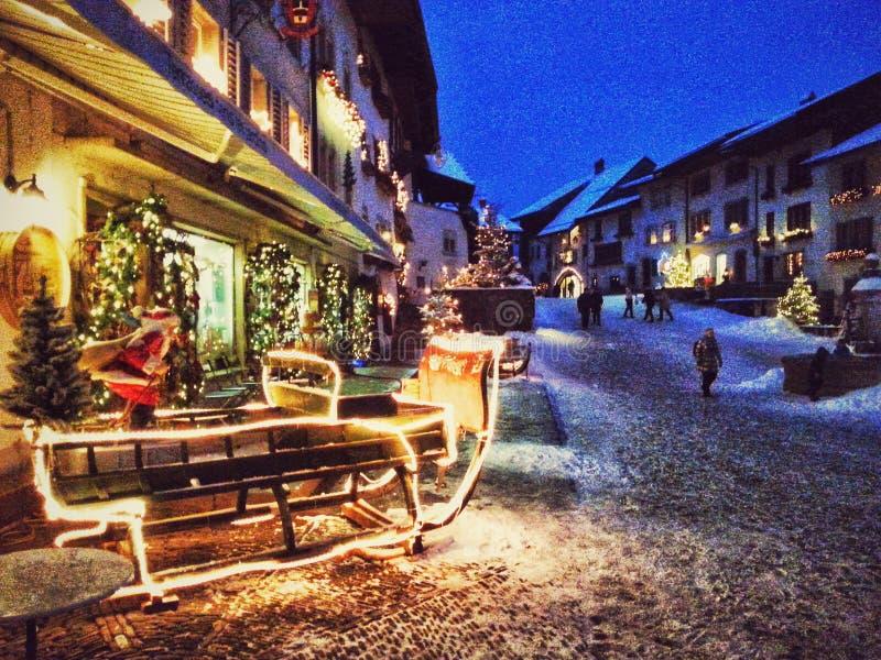 Gruyere village, Switzerland. Night view of Gruyere village after Christmas, Switzerland royalty free stock photography