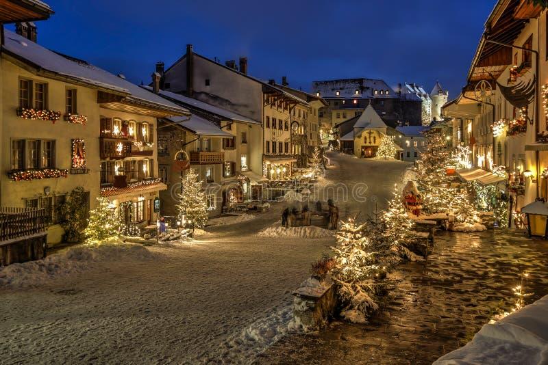 Gruyere village, Switzerland. Night view of Gruyere village after Christmas, Switzerland stock images