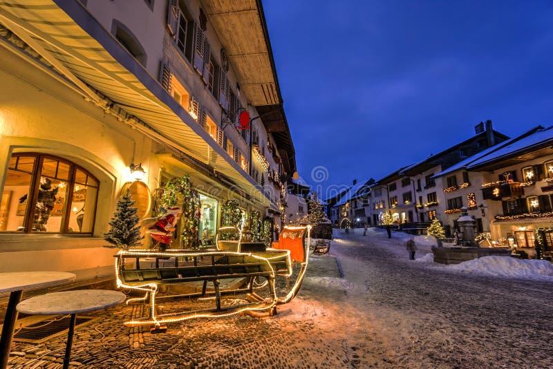 Gruyere village, Switzerland. Night view of Gruyere village during Christmas, Switzerland royalty free stock photos