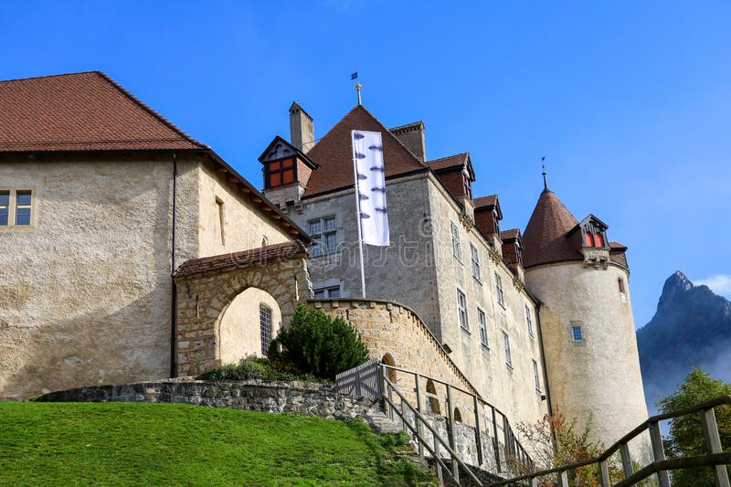 The Gruyeres Castle on the top hill is the most view at fribourg,switzerland royalty free stock image