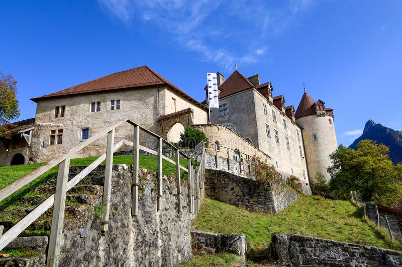 The Gruyeres Castle on the top hill is the most view at fribourg,switzerland royalty free stock images