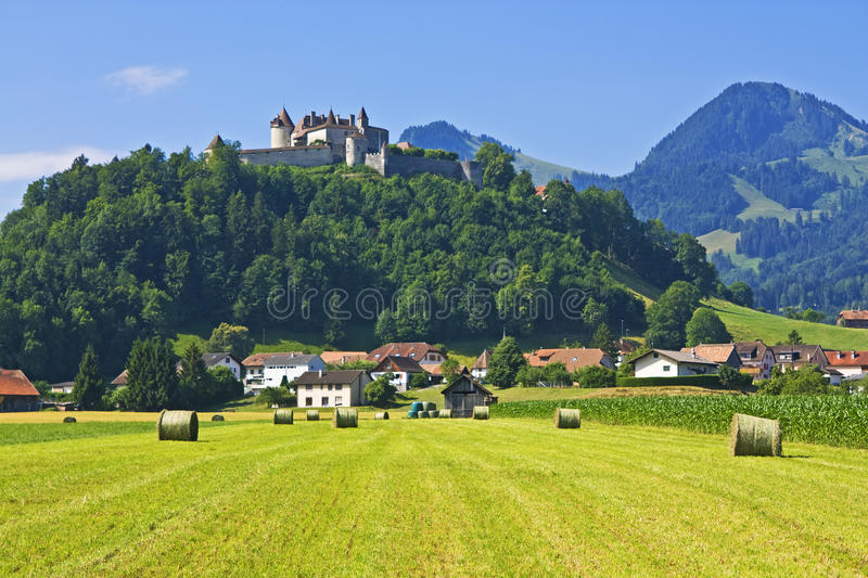 Download Gruyeres, Switzerland stock image. Image of bales, flowers - 16344075