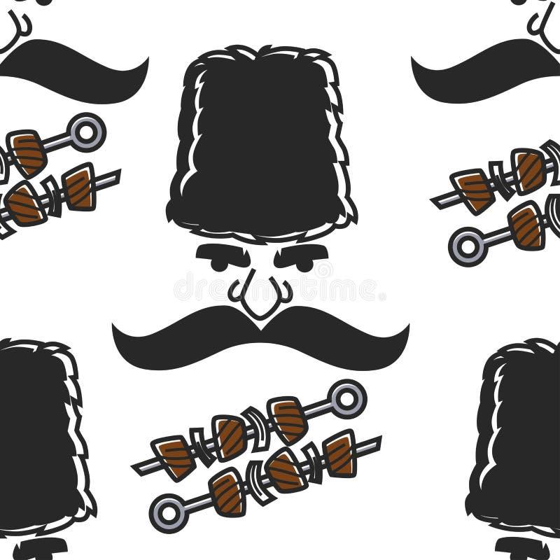 Gruzińska mężczyzna twarz i bezszwowy deseniowy mięso wąsy i ilustracji