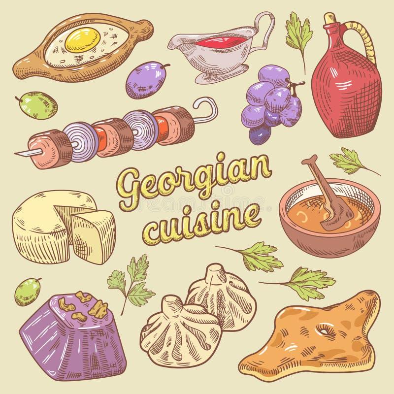 Gruzińskiej kuchni Tradycyjny jedzenie z Khinkali Ręka rysujący doodle ilustracji