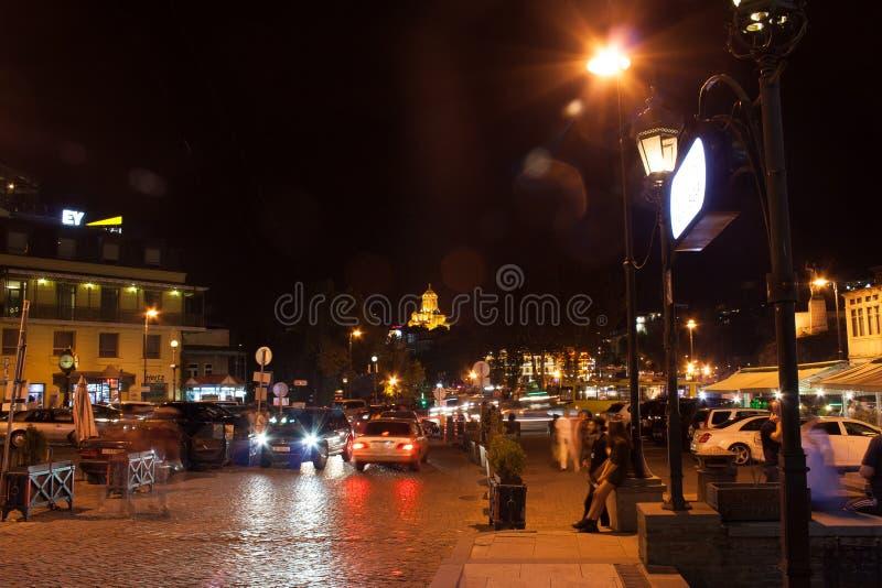 Gruzja Tbilisi, Wrzesień - 23 2017 Noc widok stary miasteczko zdjęcie royalty free