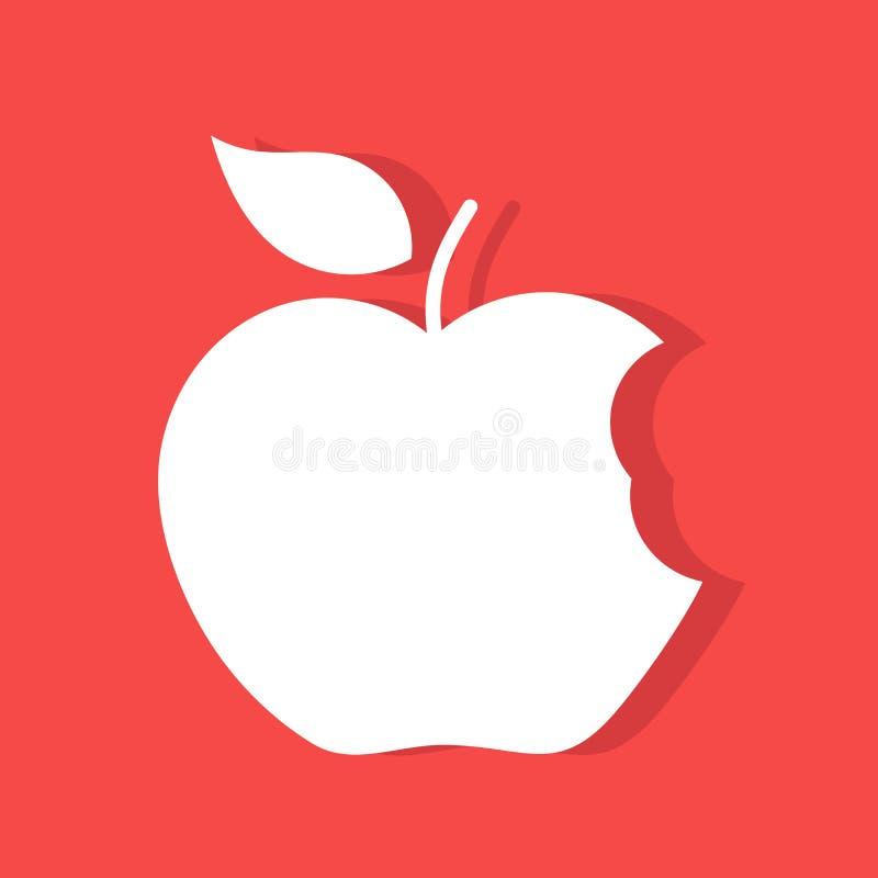 Gryźć jabłczana etykietka ilustracja wektor