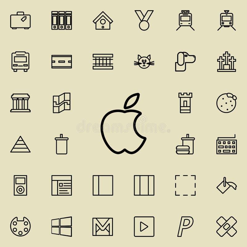 Gryźć jabłczana ikona Szczegółowy set minimalistic kreskowe ikony Premia graficzny projekt Jeden inkasowe ikony dla stron interne ilustracja wektor