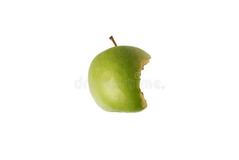 Gryźć zielony jabłko na białym tle z ścinek ścieżką fotografia stock