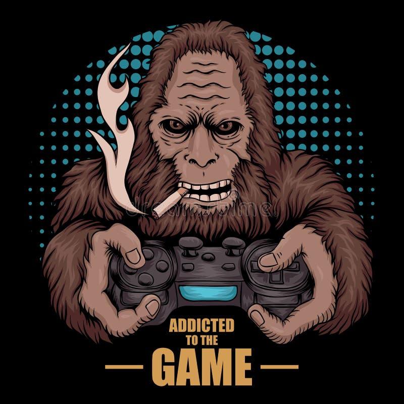 Gry Bigfoot wektoru uzależniona ilustracja royalty ilustracja