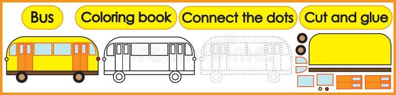 Gry dla dzieci 3 w 1 Kolorystyki książka, łączy kropki, cięcie ilustracja wektor