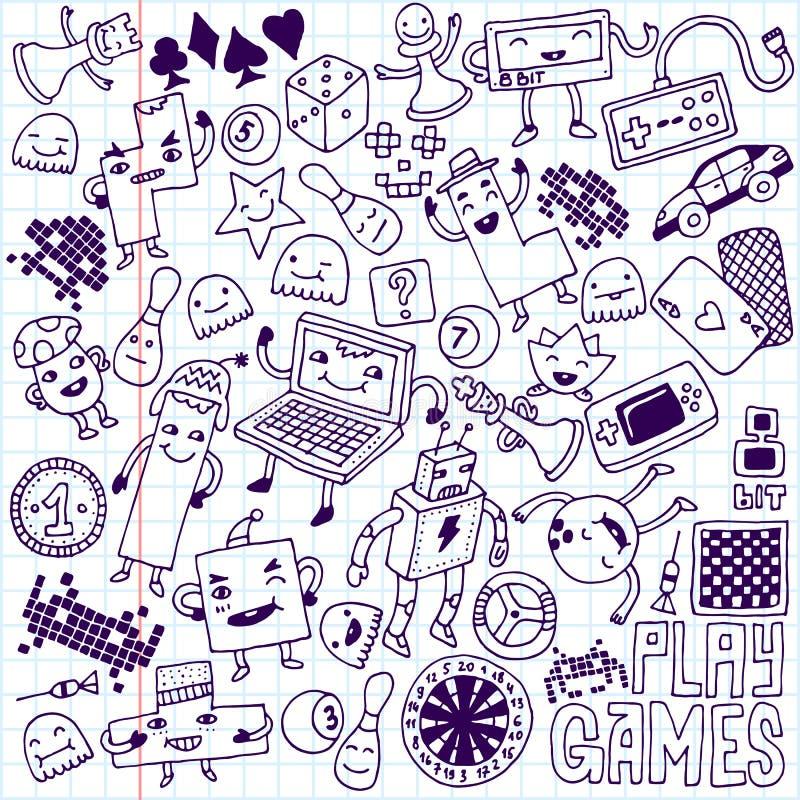 Gry doodle set Szkolny notatnik obraz stock