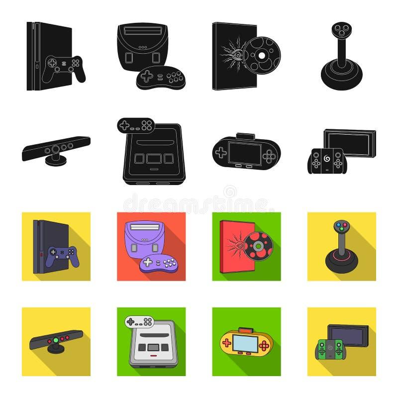 Gry i TV wierzchołka pudełka czerń, flet ikony w ustalonej kolekci dla projekta Gemowych gadżetów symbolu zapasu sieci wektorowa  ilustracji